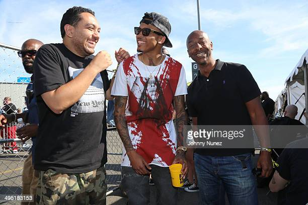 Cipha Souds August Alsina and Stephen Hill attend Hot 97 Summer Jam 2014 at MetLife Stadium on June 1 2014 in East Rutherford City