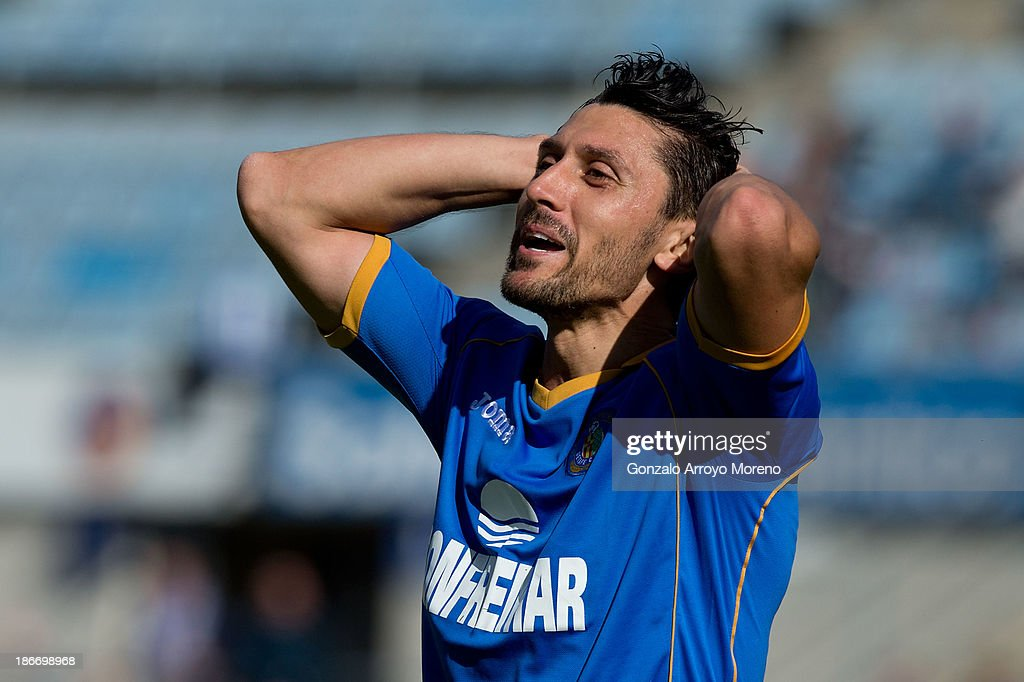 <a gi-track='captionPersonalityLinkClicked' href=/galleries/search?phrase=Ciprian+Marica&family=editorial&specificpeople=2178476 ng-click='$event.stopPropagation()'>Ciprian Marica</a> of Getafe CF reacts as he fail to score during the La Liga match between Getafe CF and Valencia CF at Coliseum Alfonso Perez on November 3, 2013 in Getafe, Spain.