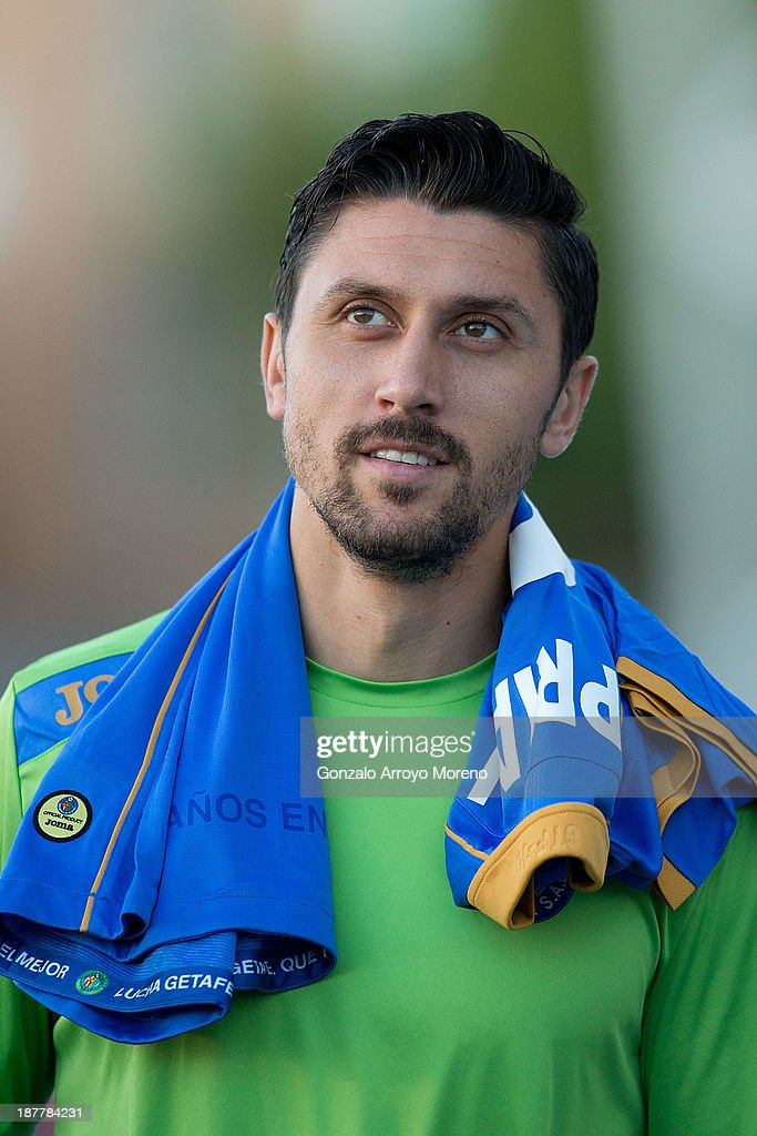 <a gi-track='captionPersonalityLinkClicked' href=/galleries/search?phrase=Ciprian+Marica&family=editorial&specificpeople=2178476 ng-click='$event.stopPropagation()'>Ciprian Marica</a> of Getafe CF walks to the bench prior to start the La Liga match between Getafe CF and Real Betis Balompie at Coliseum Alfonso Perez on October 6, 2013 in Getafe, Spain.