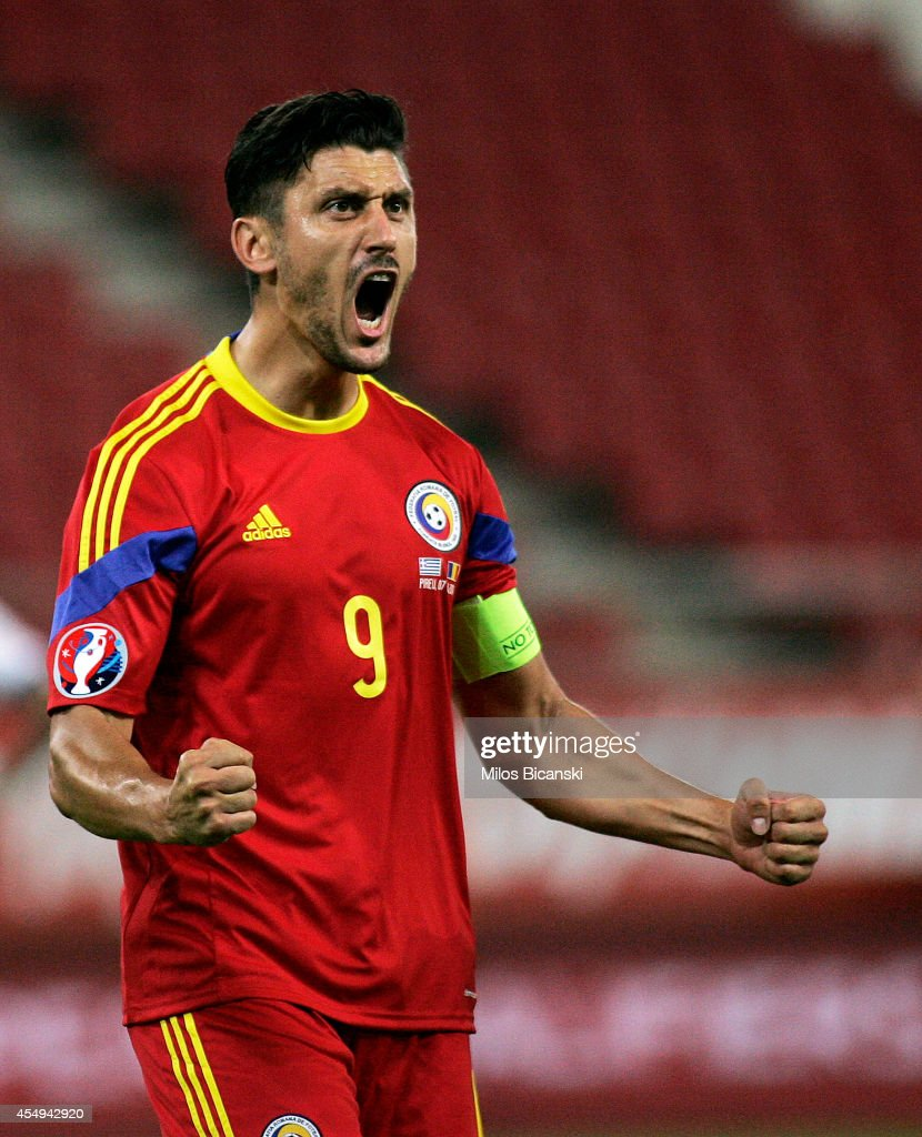 <a gi-track='captionPersonalityLinkClicked' href=/galleries/search?phrase=Ciprian+Marica&family=editorial&specificpeople=2178476 ng-click='$event.stopPropagation()'>Ciprian Marica</a> of Romania celebrates a goal during the group F EURO 2016 qualifier between Greece and Romania at Georgios Karaiskakis stadium on September 7, 2014 in Piraeus port, near Athens, Greece