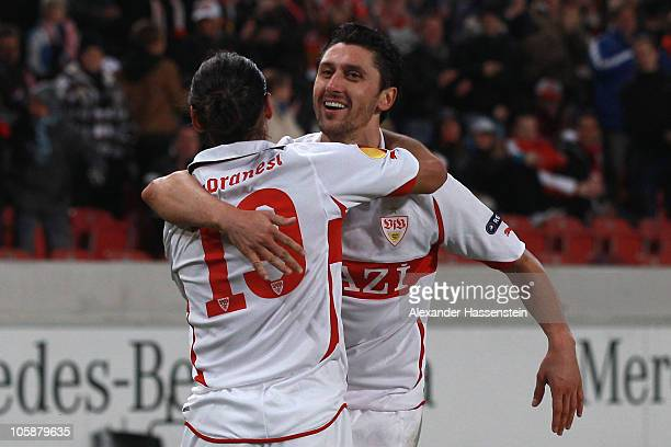Ciprian Marica of Stuttgart celebrates scoring his first team goal with his team mate Mauro Camoranesi during the UEFA Europa League group H match...