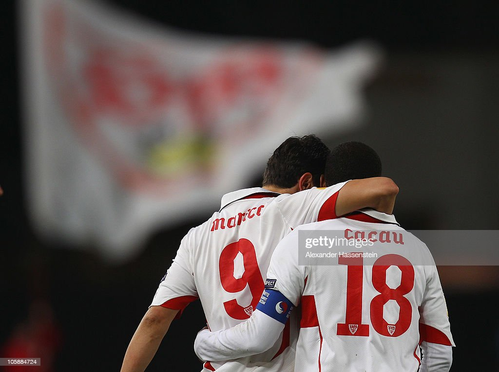Ciprian Marica (L) of Stuttgart celebrates scoring his first team goal with his team mate Cacau during the UEFA Europa League group H match between VfB Stuttgart and Getafe CF at Mercedes-Benz Arena on October 21, 2010 in Stuttgart, Germany.