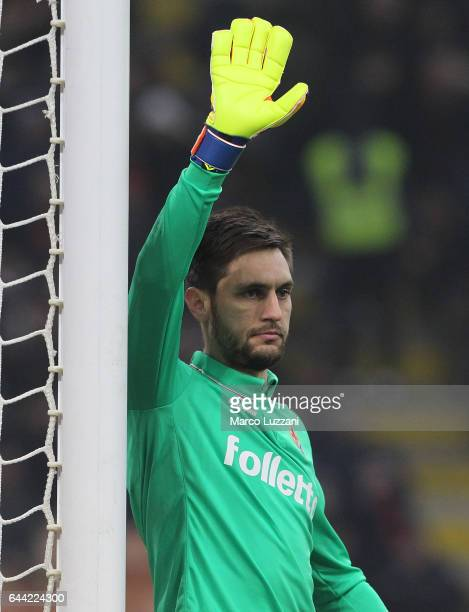 Ciprian Tatarusanu of ACF Fiorentina gestures during the Serie A match between AC Milan and ACF Fiorentina at Stadio Giuseppe Meazza on February 19...