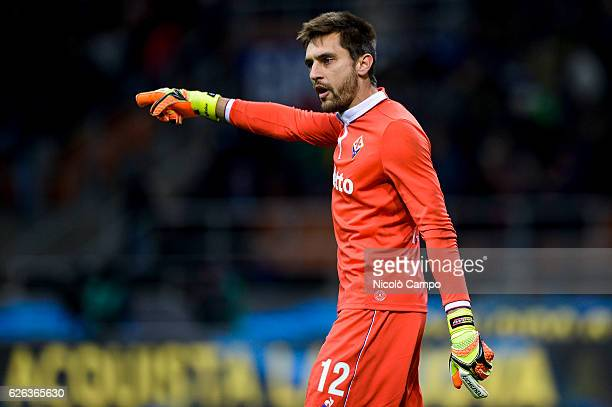 Ciprian Tatarusanu of ACF Fiorentina gestures during the Serie A football match between FC Internazionale and ACF Fiorentina FC Internazionale wins...
