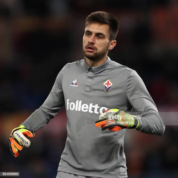 Ciprian Tatarusanu of ACF Fiorentina looks on during the Serie A match between AS Roma and ACF Fiorentina at Stadio Olimpico on February 7 2017 in...