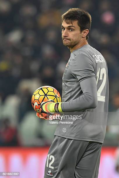 Ciprian Tatarusanu of ACF Fiorentina looks on during the Serie A match betweeen Juventus FC and ACF Fiorentina at Juventus Arena on December 13 2015...