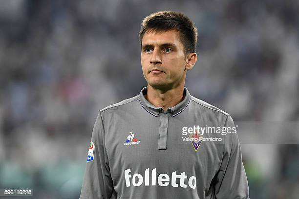 Ciprian Tatarusanu of ACF Fiorentina looks on during the Serie A match between Juventus FC and ACF Fiorentina at Juventus Arena on August 20 2016 in...