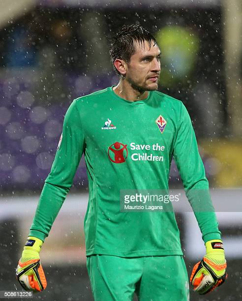 Ciprian tatarusanu of Fiorentina during the Serie A match between ACF Fiorentina and Carpi FC at Stadio Artemio Franchi on February 3 2016 in...