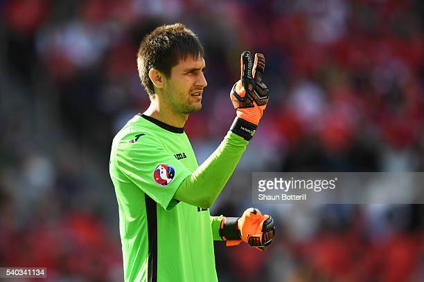 Ciprian Tatarusanu of Romania instructs his team during the UEFA EURO 2016 Group A match between Romania and Switzerland at Parc des Princes on June...