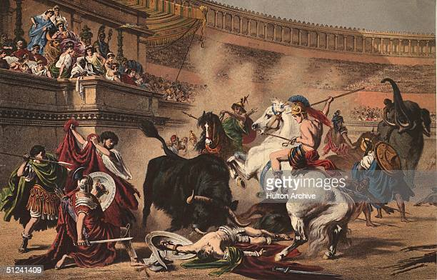 Circa 100 BC Gladiators riding elephants and horses battle a bull in a Roman amphitheatre Original Artwork A print by Professor Wagner