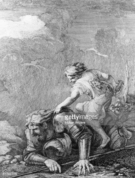 Circa 1050 BC David astride a fallen Goliath who is clad in full body armour Original Artwork Artist Salvator Rosa Engraving Richard Earlom