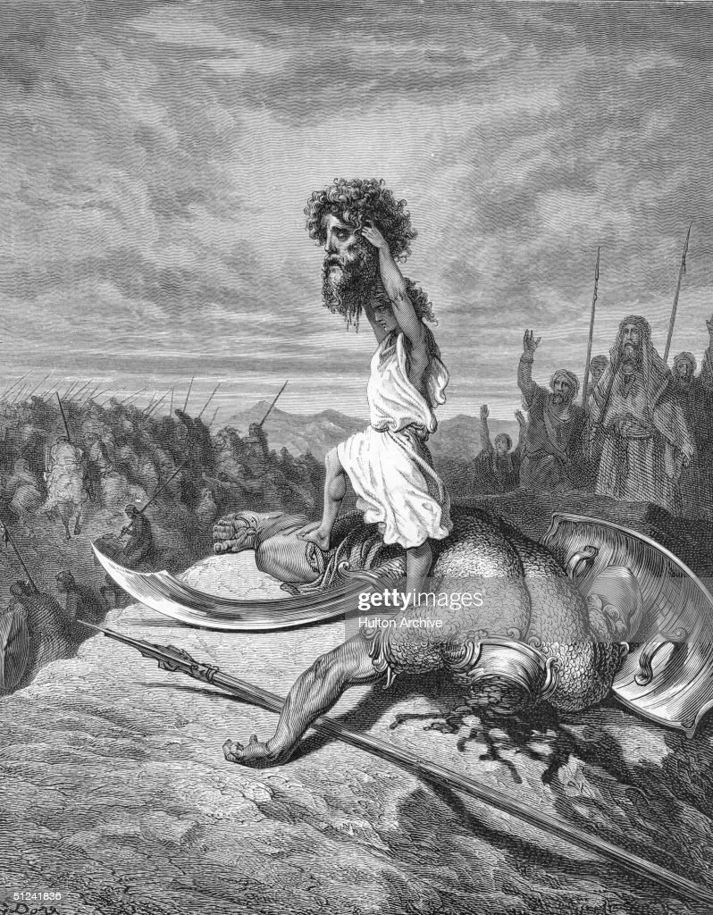 Circa 1050 BC David displaying the head of Goliath to the Jews from the Old Testament1 Samuel
