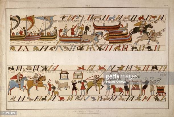 Circa 1090 The Norman army crossing the channel and food being prepared in the Norman conquest of England depicted in the Bayeux tapestry Original...