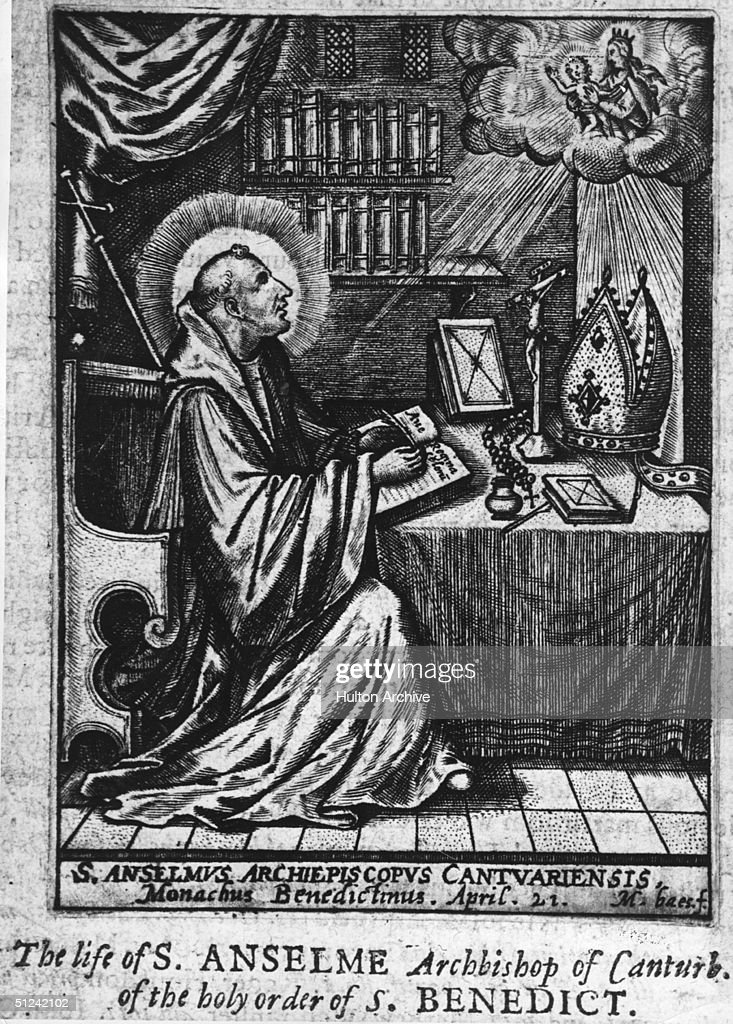 Circa 1100, Sholastic philosopher and clergyman St Anselm (1033 - 1109), born in Aosta, Italy he settled at the Benedictine abbey of Bec in Normandy before moving to England to succeed Lanfranc as Archbishop of Canterbury in 1093. He was canonised in 1494.