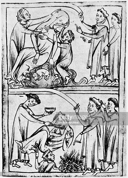 Circa 1250 Roman martyr Saint Valentine who died circa 269 AD curing an epileptic