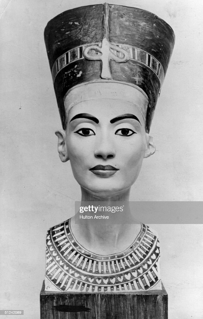 Circa 1300 BC, A bust of Queen Nefertiti of Egypt, wife of Pharaoh Amoniphis IV in the Berlin Museum.