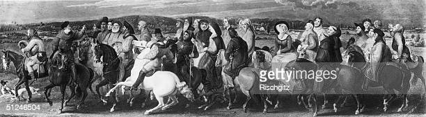 Circa 1350 A group of travellers making a pilgrimage to the shrine of St Thomas A Becket in Canterbury as in Geoffrey Chaucer's classic work 'The...