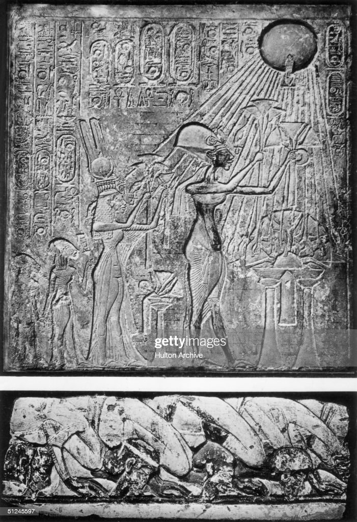 Circa 1350 BC, King Akhenaten (or Akhenaton) and his Queen <a gi-track='captionPersonalityLinkClicked' href=/galleries/search?phrase=Nefertiti&family=editorial&specificpeople=99177 ng-click='$event.stopPropagation()'>Nefertiti</a> worship Aten or Aton, the Sun God. Originally named Amenhotep IV, the king changed his name to Akhenaten ('Glory of Aten'), whom he worshipped as the one true god. Original Artwork: A bas-relief in the