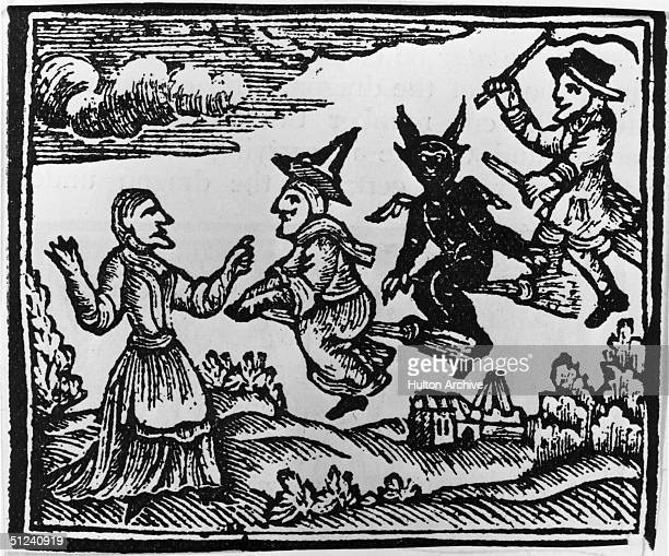 Circa 1400 A witch a demon and a warlock fly towards a peasant woman with the aid of their broomsticks Original Artwork Woodcut from a chapbook