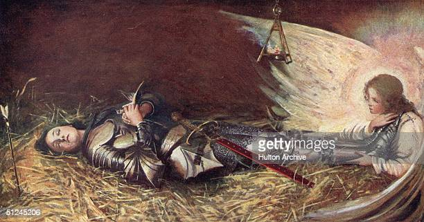 Circa 1429 St Joan of Arc known as the Maid of Orleans watched over by an angel while she sleeps Her inner voices moved her to ask the Dauphin to let...