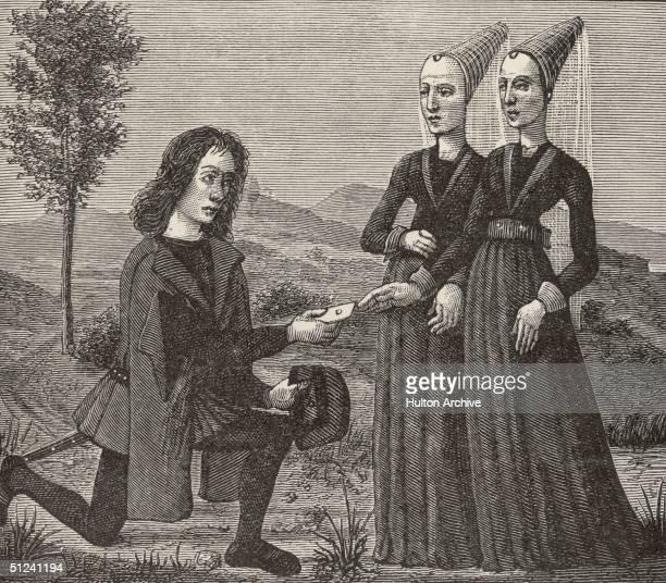Circa 1450 A suitor offers a lady a token of his love in an illustration for the poem 'Le Debat de la Noire et de la Tannee'