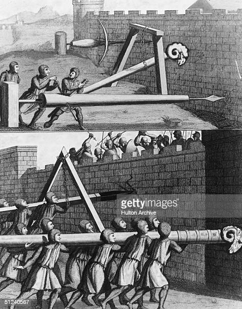 Circa 1450 Battering rams and borers for attacking fortifications They are either worked and supported by men or else suspended by chains from a...