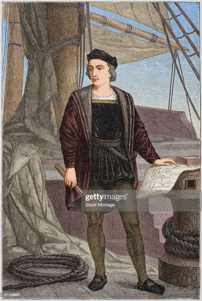 Circa 1475, Italian explorer Christopher Columbus (1451 - 1506) aboard a sailing ship.