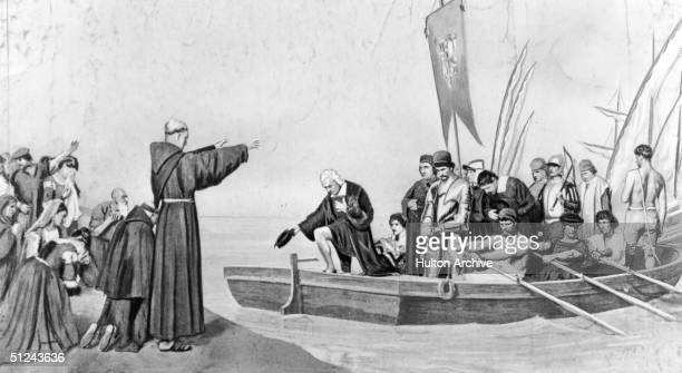 Circa 1490 Christopher Columbus leaving Palos on his first voyage to the New World from a painting by A Gilbert