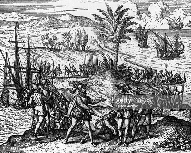 Circa 1500 The Genoese explorer Christopher Columbus taken prisoner of state in Hispaniola Original Publication From 'Americae Partes'