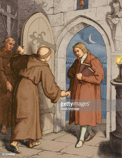 Circa 1505 Martin Luther German religious reformer Founder of the Protestant Reformation and Lutheranism Engraving depicts Luther as a young man...