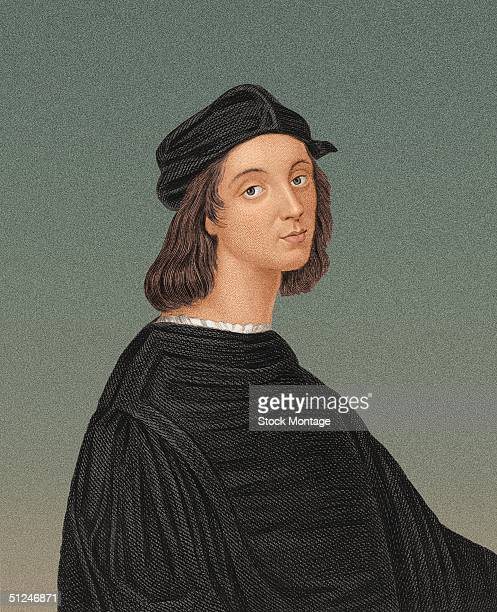 Circa 1510 Portrait of Raphael Sanzio Italian Renaissance painter Appointed chief architect of St Peter's Basilica before Michelangelo Executed many...