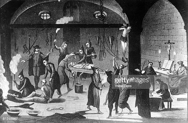 Circa 1520 The Spanish Inquisition at work on suspected Protestants and insincere Christians in a torture chamber All their gruesome work was carried...
