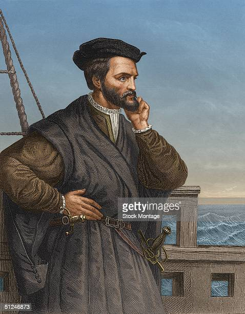 Circa 1540 French navigator Jacques Cartier who made three exploratory journeys to North America and sailed up the St Lawrence River in Canada as far...
