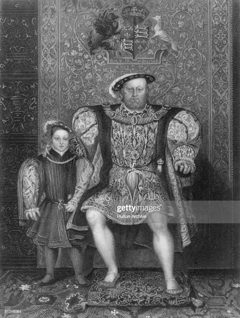 Circa 1547, King of England, Henry VIII (1491 - 1547) with Prince Edward (1537 -1553), his son by his third wife, Jane Seymour. Above them are the coat of arms of the Tudor royals. Original Artist: School of Holbein in the collection at Hampton Court Palace.