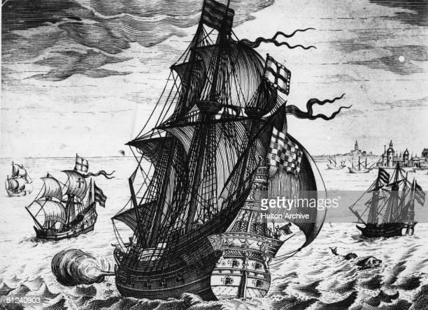Circa 1550 A Spanish galleon of the mid 16th Century on the high seas
