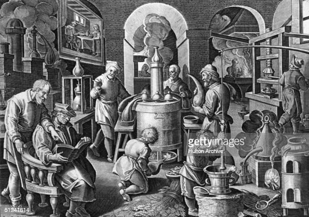 Circa 1550 Alchemists using fire in the distillation process Original Artist By Stradamus
