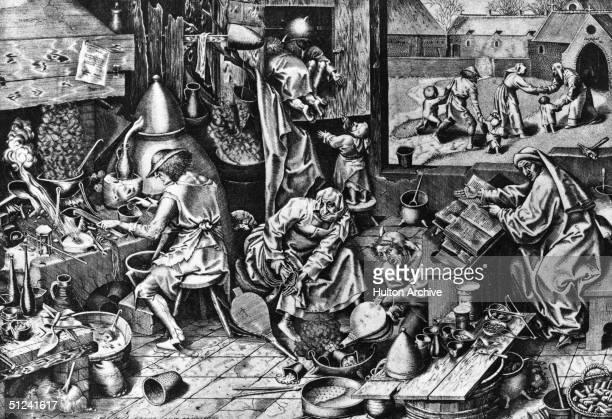 Circa 1560 Alchemists at work Original Artwork Engraving after original work by Pieter Bruegel