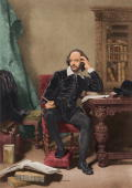 Circa 1600 English dramatist and poet William Shakespeare ponders his next work