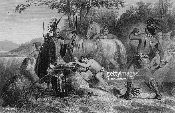 Circa 1600 Pocahontas the American Indian princess who saved the life of John Smith the English adventurer on two occasions