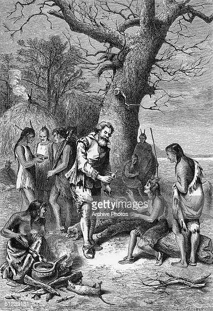Circa 1607 John Smith English soldier explorer cartographer colonial administrator Captured in the Jamestown Virginia colony by Chief Powhatan saved...
