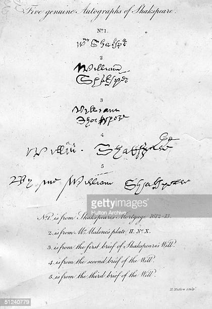 Circa 1610 Five examples of the autograph of English playwright William Shakespeare