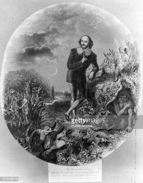 Circa 1610 Portrait of the English dramatist William Shakespeare