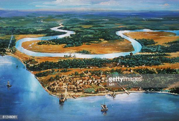 Circa 1615 The village of Jamestown situated in the James River Virginia the first permanent English settlement in America A painting by National...