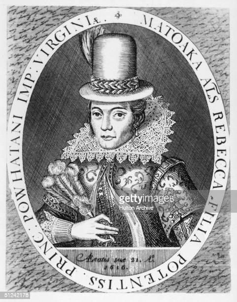 Circa 1617 Native American princess Pocahontas in European dress Daughter of American Indian Chief Powhatan went to Jamestown Virginia in 1612 was...
