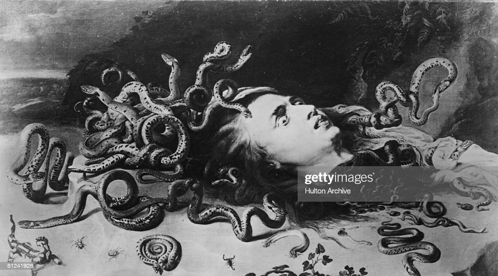 Circa 1630 Medusa one of the Gorgons from Greek mythology whose gaze turned men to stone and whose head was cut off by the hero Perseus From her...