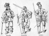 a cavalier a musketeer and a pike man of the English Civil War period