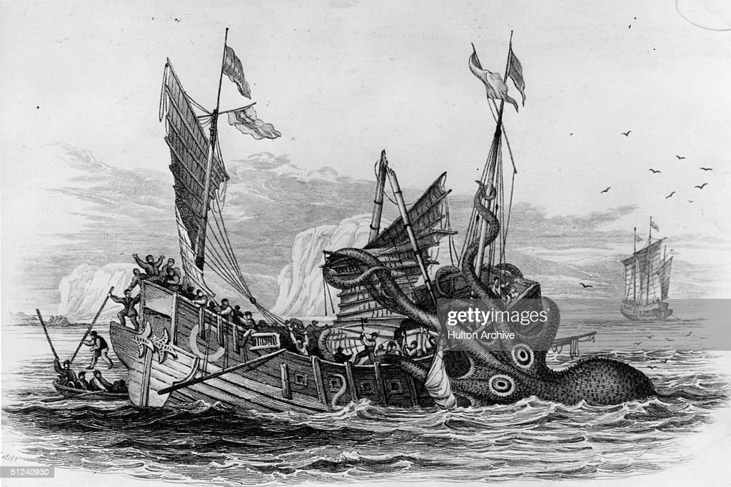 Circa 1650 A kraken attacking a ship