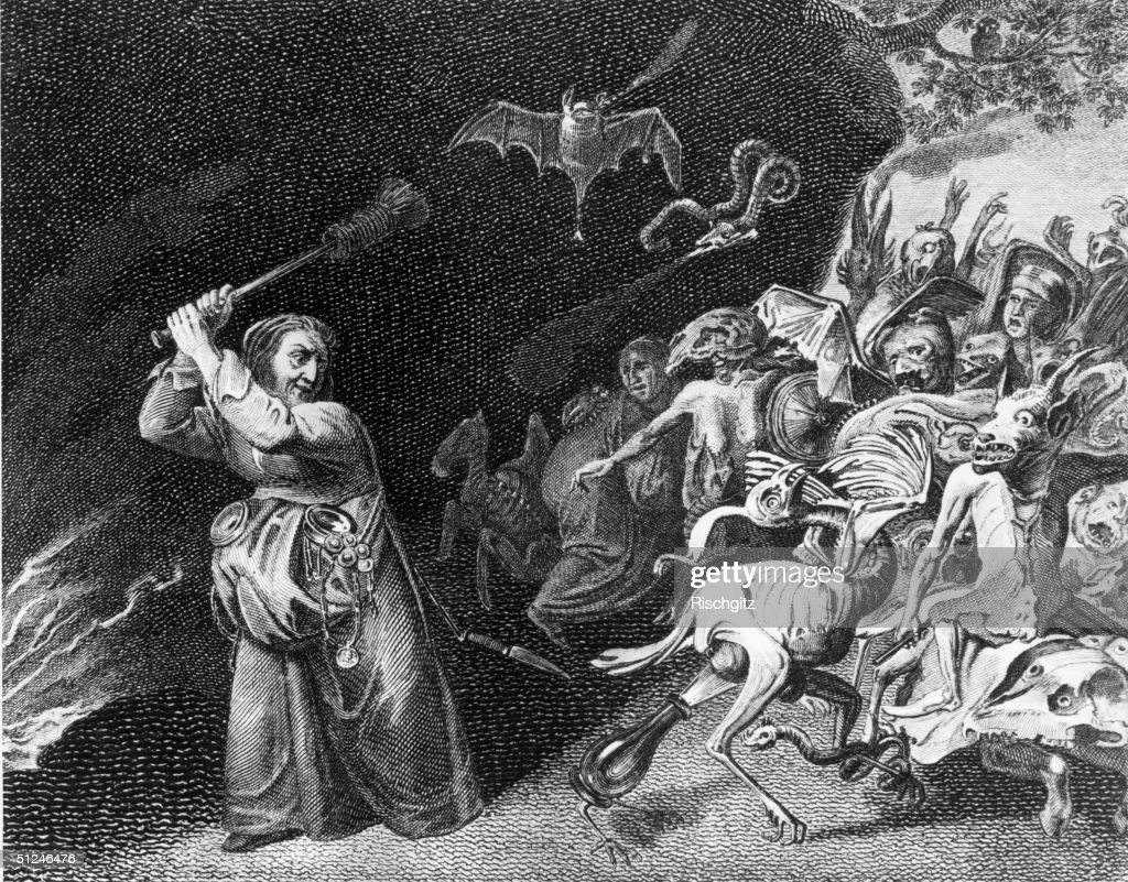 Circa 1650 A Witch' by Kyckaert A witch wields a broomstick as demons and familiars congregate before her