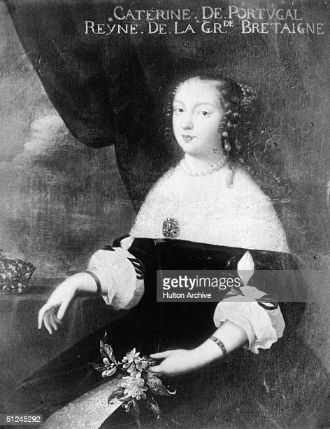Circa 1662 Catherine of Braganza Queen of England the wife of King Charles II whom she married in 1662 She was childless and was accused of trying to...