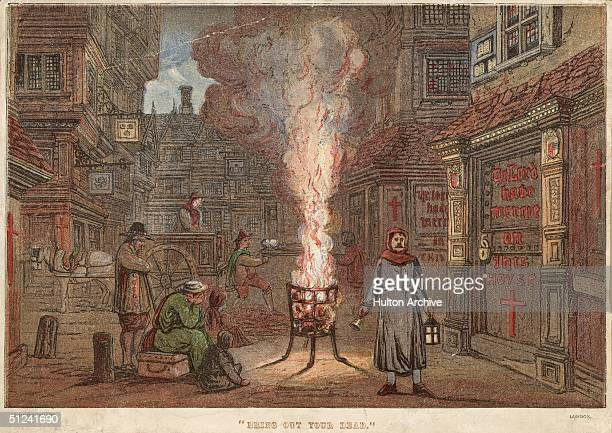 Circa 1666 A burning brazier fills the street with smoke while a bellringer calls for people to bring out their dead during the Great Plague of...